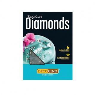 Essbare Diamanten weiß, 16 Stück, Tortendeko, Hochzeitsdeko
