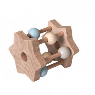 Rassel Star aus Holz, blue - Babyspielzeug