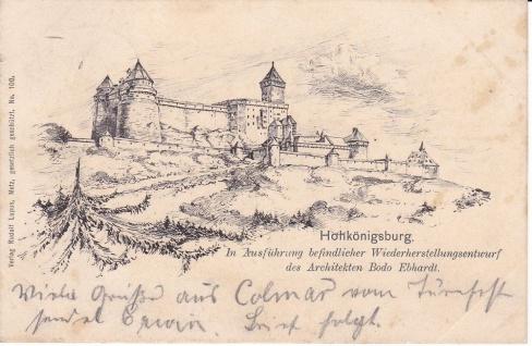 Ansichtskarte Hohkönigsburg im Elsass (Frankreich), ein altes Original