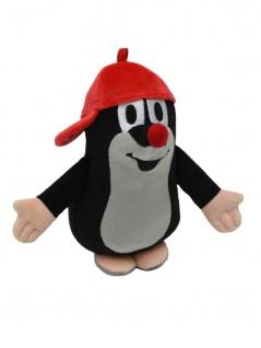 Plüschfigur Der kleine Maulwurf mit Basecap, rot, 16 cm