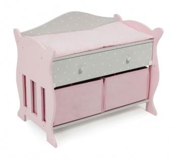 Wickeltisch für Puppen, mit 3 Staufächern in Puntos grey