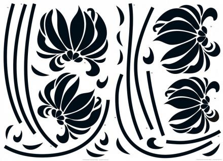 Wandtattoo Blumen schwarz, Selbstklebend