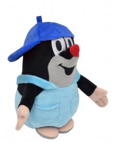 Plüschfigur Der kleine Maulwurf mit Basecap, blau, 16 cm