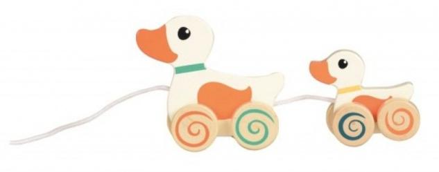 Nachziehspielzeug Ente mit Entenbaby