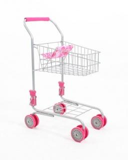 Supermarkt-Einkaufswagen mit Puppensitz in rosa/gemustert