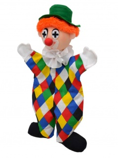 Handpuppe Clown Logo, 32cm, Handpuppe mit Beinen