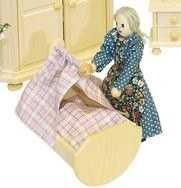Puppenhausmöbel Schlafzimmer Rustikal, Wiege