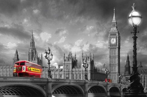 XXL Poster Bus in London, vor Westminster Brücke