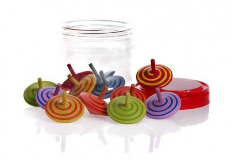 12 Bunte Kreisel aus Holz von Egmount Toys
