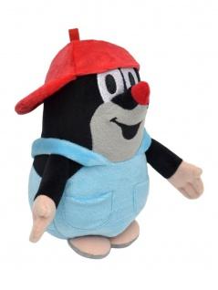 Plüschfigur Der kleine Maulwurf mit Basecap und Hose, rot, 16 cm
