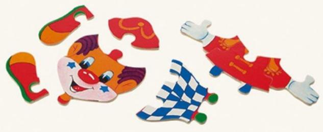 Ankleidepuzzle von Bino, Clown in Holzbox