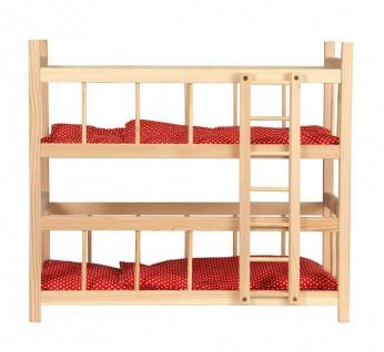 Puppen-Etagenbett mit Bettzeug, rot mit Punkten