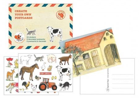 Bastel Set Postkarten mit Stickern