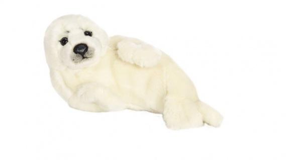Plüschtier WWF Robbe, auf der Seite liegend, Grösse 24cm weiss