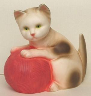 Nachtlicht Katze mit Wolle, rosa Wolle