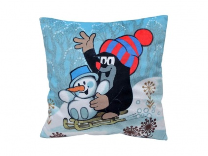 Kissen der kleine Maulwurf, Motiv Winter, 25x25cm - Kinderkissen