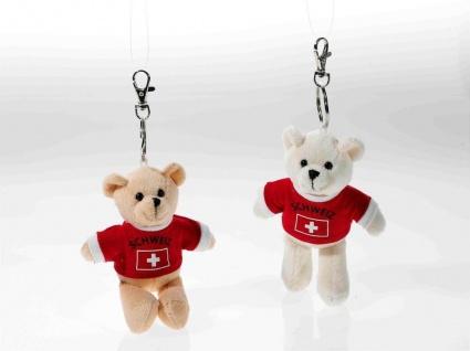 Schlüsselring Bär mit Shirt Schweiz, 1 Stück, sortierte Ware