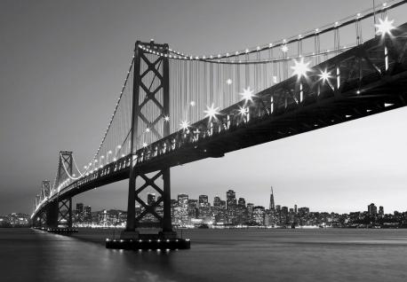 Vlies Fototapete New York Manhattan Brücke mit Skyline Schwarz-weiß