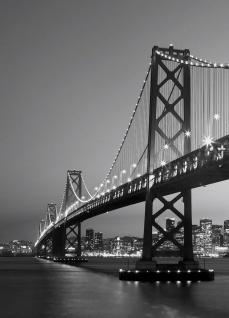 Fototapete San Francisco Skyline mit Golden Gate Brücke Schwarz-weiß