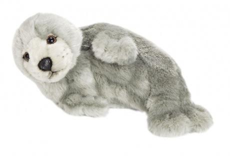 Plüschtier WWF Robbe, auf der Seite liegend, Grösse 24 cm grau