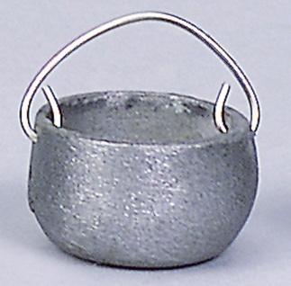 Kessel aus Zinn, für Krippen, Hobby- und Modellbau, 15 mm, mit Kette