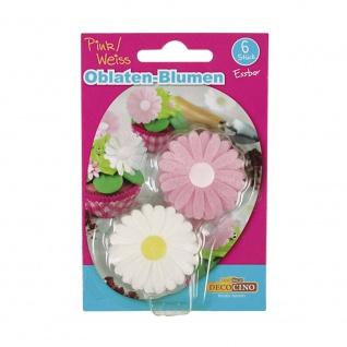 Essbare Oblaten-Blumen, Pink/Weiß