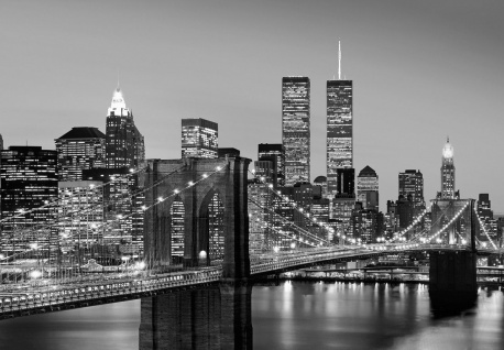 Vlies Fototapete New York, Manhattan Brücke mit Skyline Schwarz-weiß