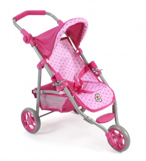 Jogging-Buggy LOLA für Puppen Dessin Dots Pink
