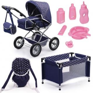 Kombi-Puppenwagen Grande, Set mit Reisebett blau mit Herzchen