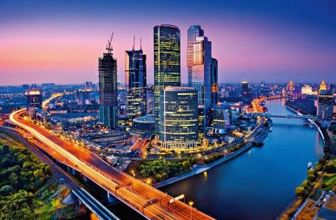 XXL Poster Stadt Moskau, Urban Lichtstreifen Langzeitbeleuchtung