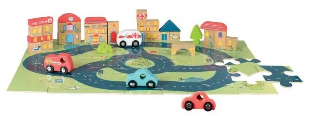 Puzzle mit Autos aus Holz