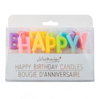 Kuchenkerzen Happy Birthday - Partykerzen, Dekokerzen