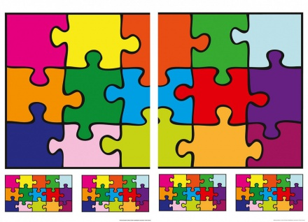 Wandtattoo Puzzle, farbig, selbstklebend