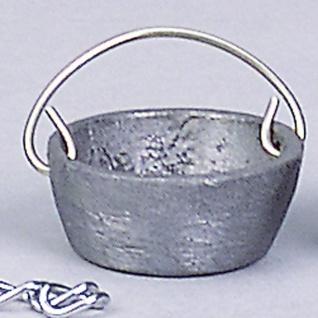 Kessel Zinn, für Krippen, Hobby- und Modellbau, 10 mm mit Kette