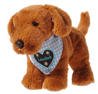 Plüschtier Hund mit Halstuch, blau Lausbub