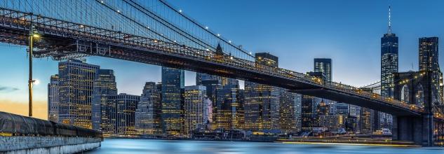 Vlies Fototapete New York, Manhattan Brücke mit Skyline