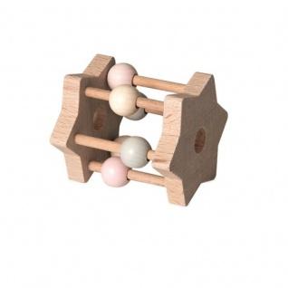Rassel Stern aus Holz, pink - Babyspielzeug