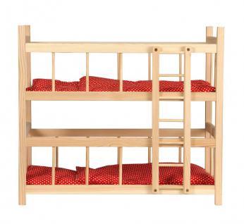 Puppen-Etagenbett mit Bettzeug, rot mit Punkten - Vorschau