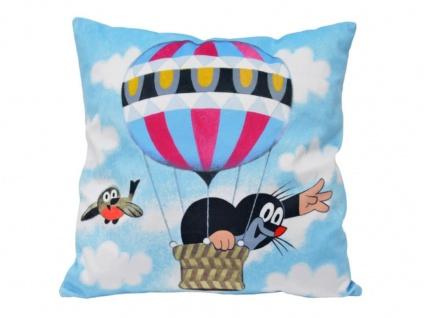 Kissen der kleine Maulwurf, Motiv Ballon, 30x30cm - Kinderkissen