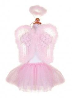 Kinderkostüm Engel-Set, mit Flügel und Haarreif, rosa