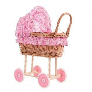 Stubenwagen für die Puppe, Bettzeug Blümchen pink