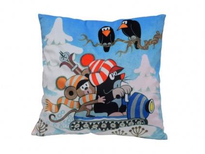 Kissen der kleine Maulwurf, Motiv Schnee, 30x30cm - Kinderkissen