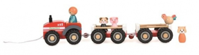 Traktor aus Holz, mit 2 Anhängern