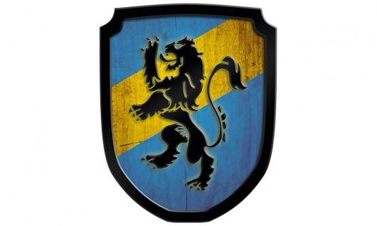 Wappenschild Löwe, blau