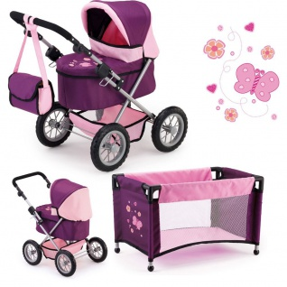 Puppenwagen Trendy, Set mit Bett Farbe Pflaume