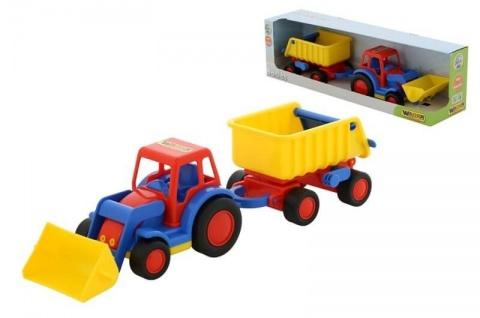 Traktor mit Schaufel und Anhänger - BASICS von wadertoys, 1 Stück