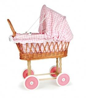 Puppen Stubenwagen aus Korb pink-karierter Stoff