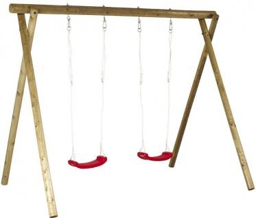 Schaukel aus Holz - Rundholzschaukel für Kinder mit Sitze rot - Vorschau 2