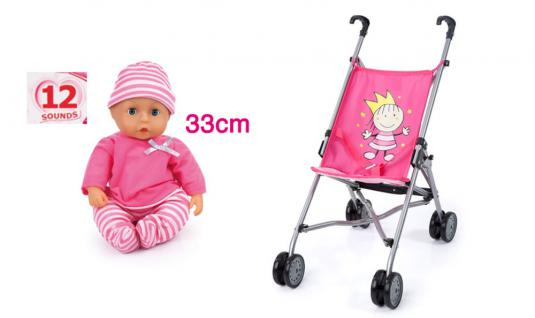Buggy Prinzessin mit Funktionspuppe mit 12 Sounds.