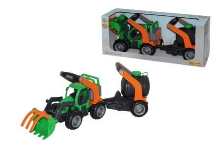 GripTruck Traktor mit Heckbagger und Fassanhänger
